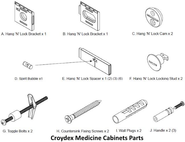 Croydex Halton Bi-View Medicine Cabinet parts