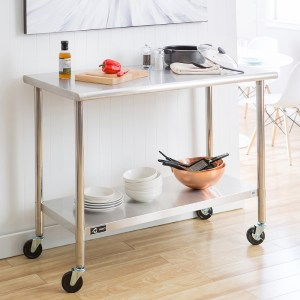 TRINITY EcoStorage NSF Stainless Steel Table with Wheels kitchen prep table