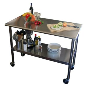 TRINITY EcoStorage NSF Stainless Steel Table with Wheels restaurant stainless steel table