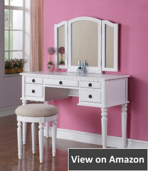 Bobkona Makeup Vanity Set with Stool (St. Croix Collection)